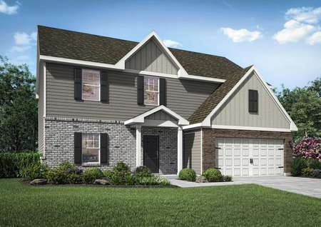 Two-story floor plan illustration with a two-car garage and brick, stone and siding features.