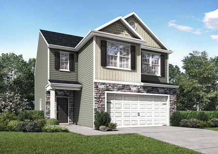 Burke multi-story house with green landscaped yard, two-car garage, and two-tone paint finish