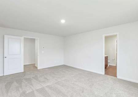 Master bedroom with carpeted floors and its connected, full bathroom.