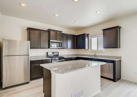 Roosevelt kitchen with stainless steel appliances, wood-like flooring, granite countertops