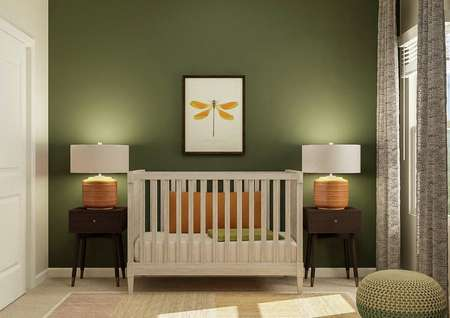 Rendering of a bedroom decorated as a   nursery with a crib, two nightstands and dragonfly artwork. The room has a   closet and window.