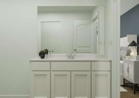 Rendering of owners bathroom adjacent to   bedroom with large countertop space and large window above.