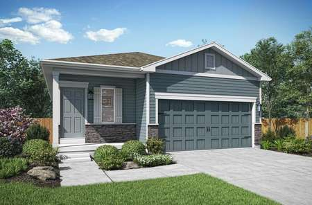 Aspen plan's model home. driveway, lawn and front view of home.