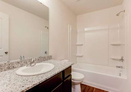 Chippewa bathroom with granite countertops, large vanity mirror, and white fixtures