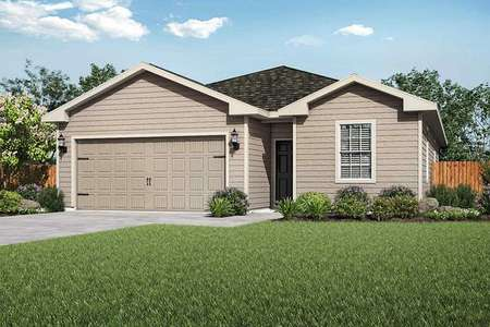 Maple new home design with carriage style garage door, fully landscaped front yard, and tan paint work