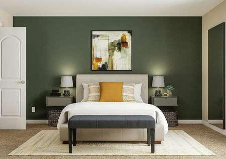 Rendering of a   secondary bedroom with a window on the right, closet on the left, and a large   accent wall painted green with a bed and two nightstands