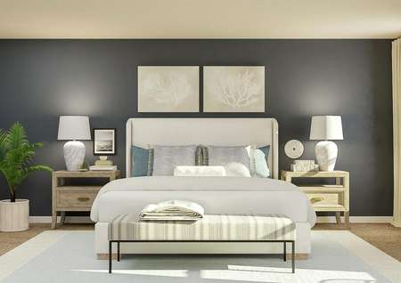 Rendering of a   spacious master bedroom with window, accent wall painted navy and carpeted   flooring covered by a white and blue rug. In the center is a white fabric bed   and two nightstands made of light wood.