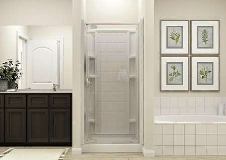 Rendering of the   spacious master bath showing the separate tub and shower and dark wood   vanity.