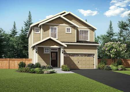 The cypress rendering shows a two story plank wood siding home with attached garage and covered front porch
