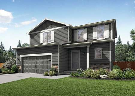 Mesa Verde artist rendering with lush landscaping, brown siding with white trim, and carriage-style garage