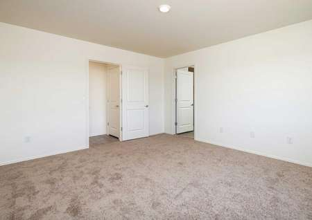 The Luna floorplan shows us a carpeted master bedroom with two open doors.