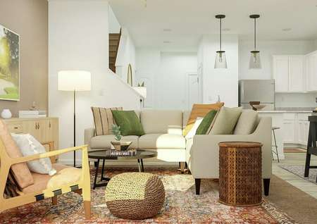Rendering of the living room with the   entry hall and kitchen visible behind it. The room has a sectional, armchair,   round table and media cabinet.
