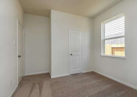 Maple bedroom with walk-in closet, large window with white frame, and dark brown carpet