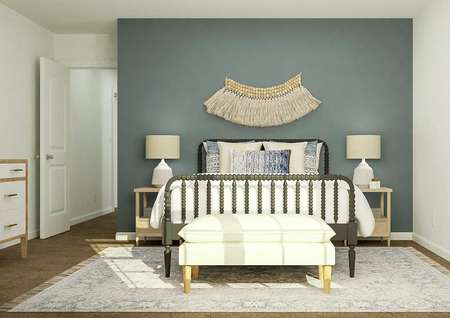 Rendering of a large secondary bedroom   furnished with a bed, two nightstands, a bench and a dresser.