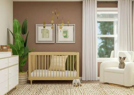 Rendering of a bedroom furnished as a   nursery with a dresser, crib, star mobile and cream armchair.