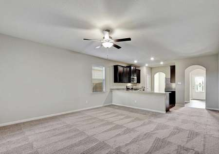Fannin single family home with great room, carpet family room, and recessed lighting