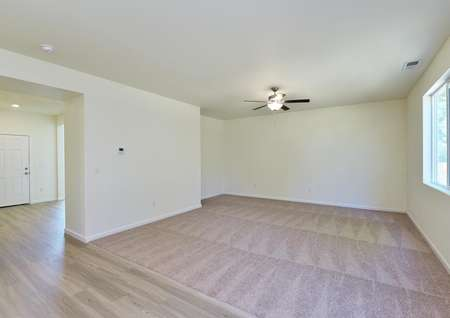 Spacious living room with carpet, ceiling fan and window to back yard.
