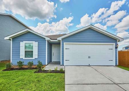 Trinity new home with single living story, white garage door, and blue paint finish