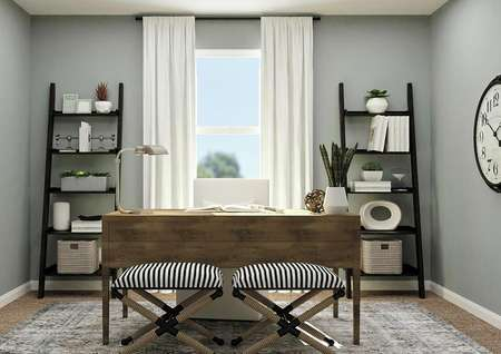 Rendering of secondary bedroom decorated   as an office with wood desk, two bookshelves and large window