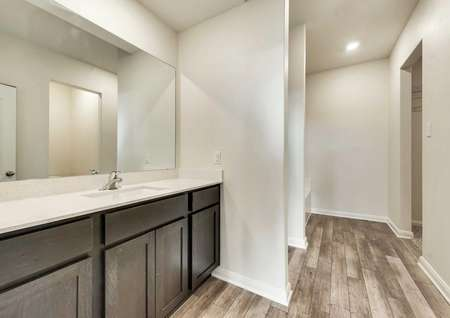 Driftwood bathroom with large vanity and mirror, wood cabinetry, and recessed lights