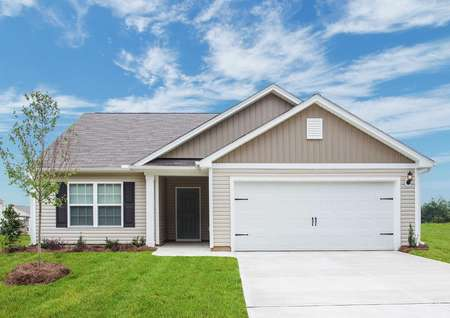 Alamance home front with landscaping, dual-car garage, and tan finish siding