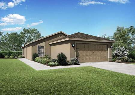Exterior view of the Anastasia floor plan's model home and grass lawn.