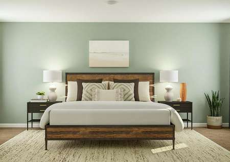 Rendering of the expansive master suite   with several windows, carpeted flooring and a light blue-green accent wall.   The room is furnished with a large bed, nightstands, a dresser and an accent   chair.
