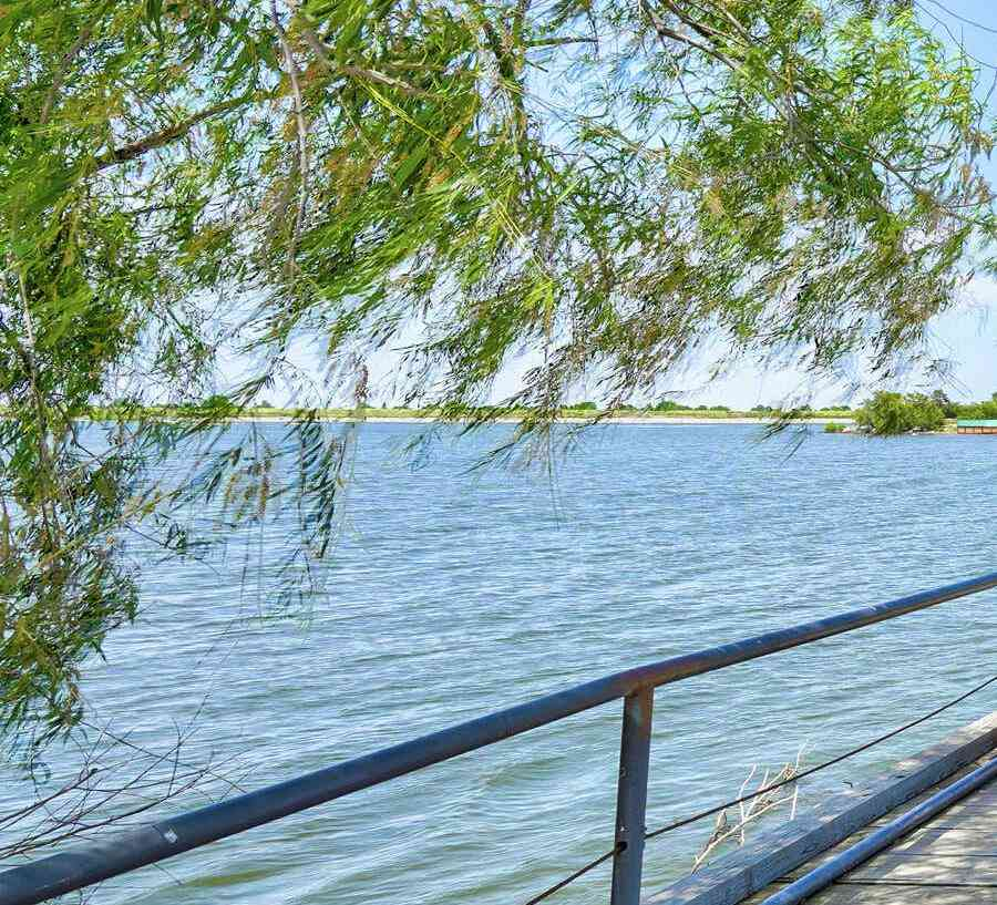 Crimson Lake Estates new home community dock with shade tree to fish off of