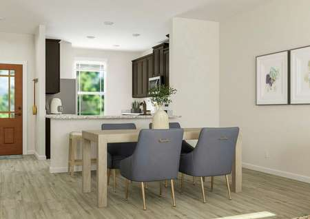 Rendering of the dining room with the   kitchen visible in the background. The dining area has wood-style flooring, a   rectangular wooden table and four chairs.
