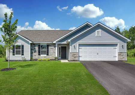 Chippewa single-family home with one level, green grass, and blue on blue finish