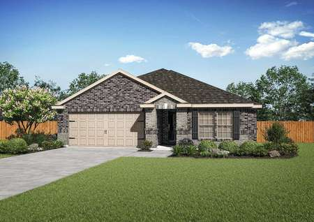 Kendall completed home rendering with green grass, lush plants, and brick facade