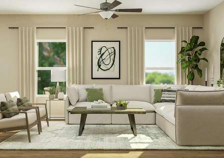 Rendering of the breakfast nook and   living room in the Hartwell. The living room has two windows and a ceiling   fan and is decorated with a sectional couch and two armchairs.