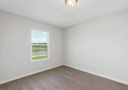 Allatoona bedroom with white-framed window, brown carpet, and grey-painted walls