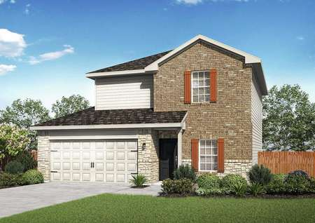 Carson two-story home rendering with white 2 car garage door, brick and siding finished walls, and landscaped front yard