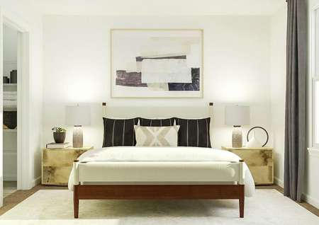 Rendering of owners bedroom with large   bed, dual side tables, adjacent to linen closet.