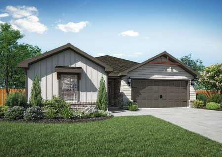 The Durant plan has white siding, gray brick and lush front yard landscaping.