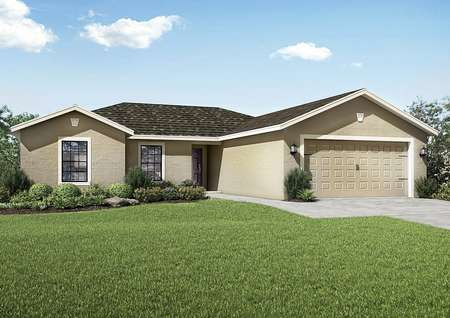 Fiesta Key floor plan exterior view of the home with a two-car garage and a lush green grass front yard.