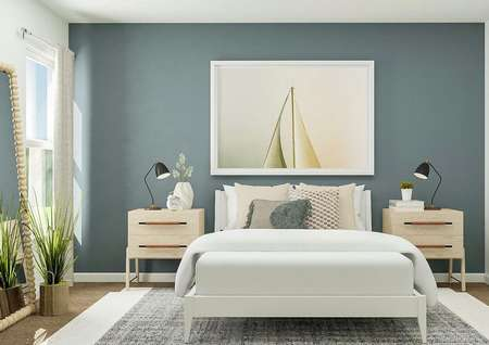 Rendering of bedroom with dual side   tables, large mirror to side, and blue accent wall.