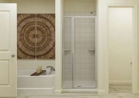 Rendering of the   master bathroom focused on the shower and separate tub, which has been   decorated with candles and wooden artwork.