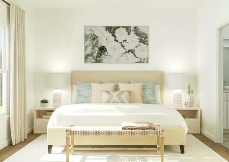 Rendering of owners bedroom with large   bed, dual side tables, window, and artwork above bed.