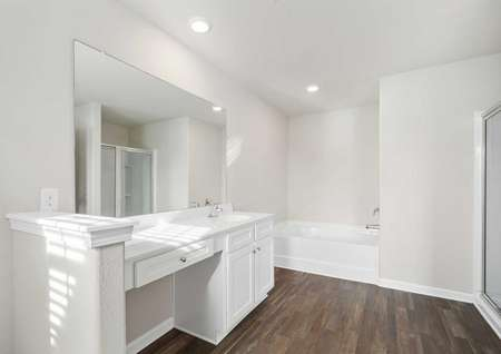 Burke master bath with walk-in shower, bathtub, and white cabinets