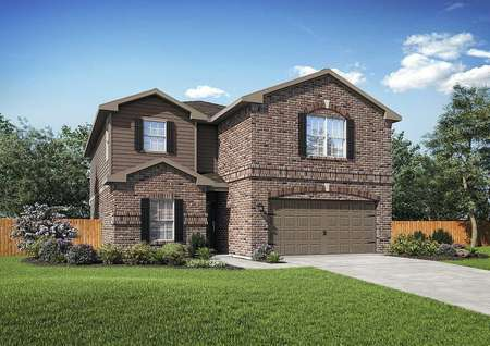Exterior of single family Driftwood plan with two stories, brick, two car garage and front yard landscaping