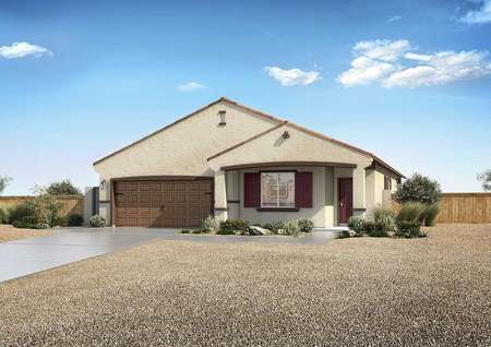 Laguna exterior rendering with single living level, landscaped yard with gravel, and brown accent paint
