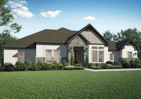 The Stratton plan featuring stone accents, gables and coach lights.