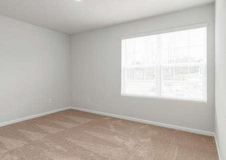 Avery bedroom with large white-framed window, brown carpet, and white-trimmed grey walls