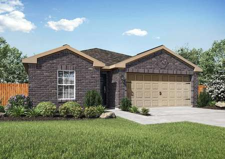 Single story brick home with a two-car garage, front landscaping, fencing, and a shingle roof in the Trinity model plan