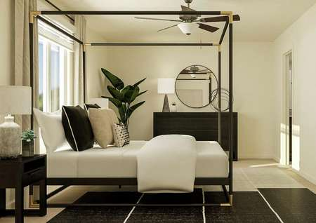 Rendering of the master bedroom showing a   black poster bed, nightstand and dresser. A large window has cream curtains   and the carpeted flooring is covered by a black, gray and white rug.