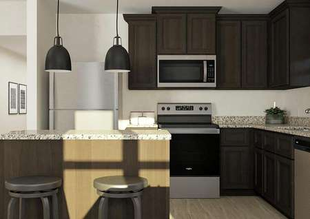 Rendering of the kitchen with island,   brown cabinetry, granite counters and stainless steel appliances.