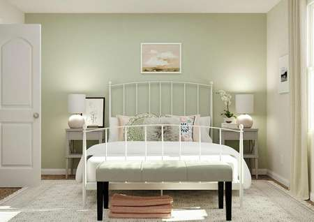 Rendering of secondary bedroom with large   rod iron bed, two nightstands, window and entrance to the closet
