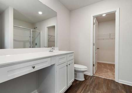 Avery master bath with wood tiling, large vanity with makeup counter, and separate closet
